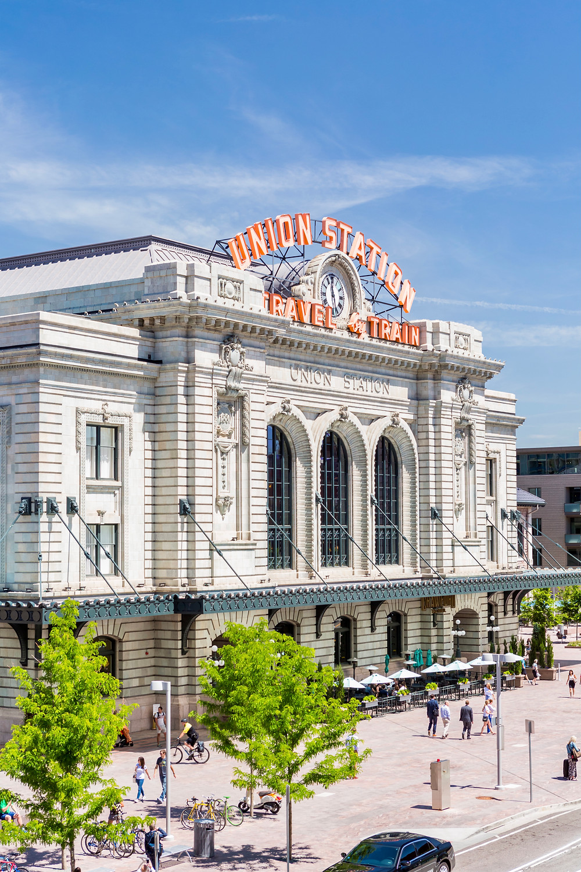 the Beaux Art Union Station building, a historic landmark in Denver