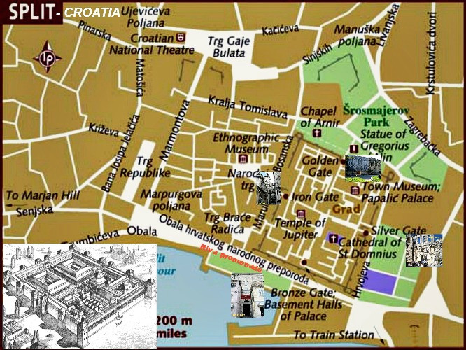 map of Diocletian's Palace in Split Croatia