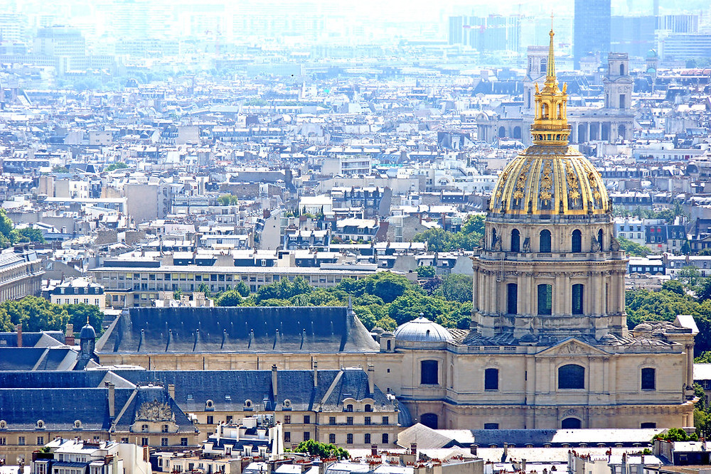 the glittering dome of Les Invalides on the Paris skyline