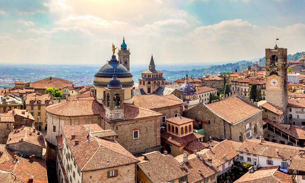 the medieval town of Bergamo
