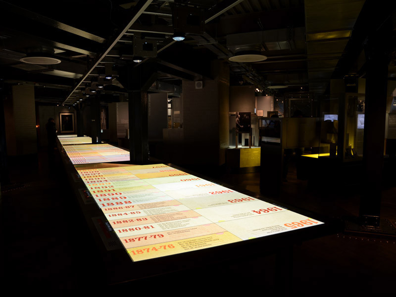 gigantic touchscreen table chronicling Churchill's life and career