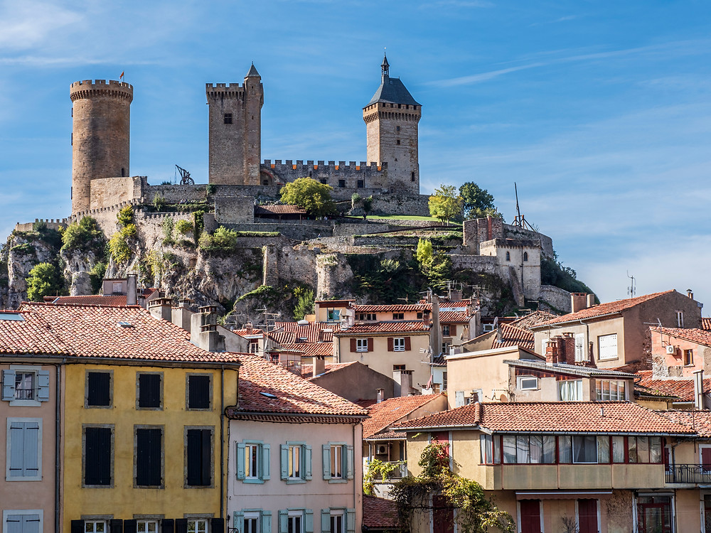 view of Foix's chateau from the old town