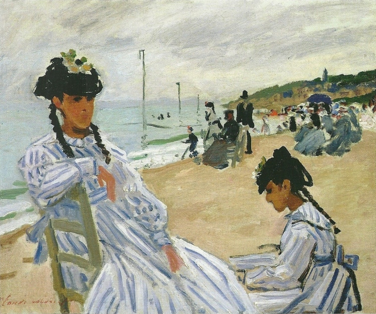 Monet, Camille on the Beach at Trouville, 1870