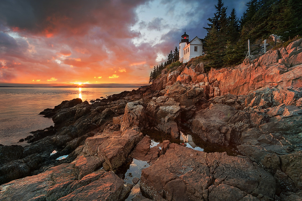 Bass Harbor Lighthouse in Acadia National Park at sunset
