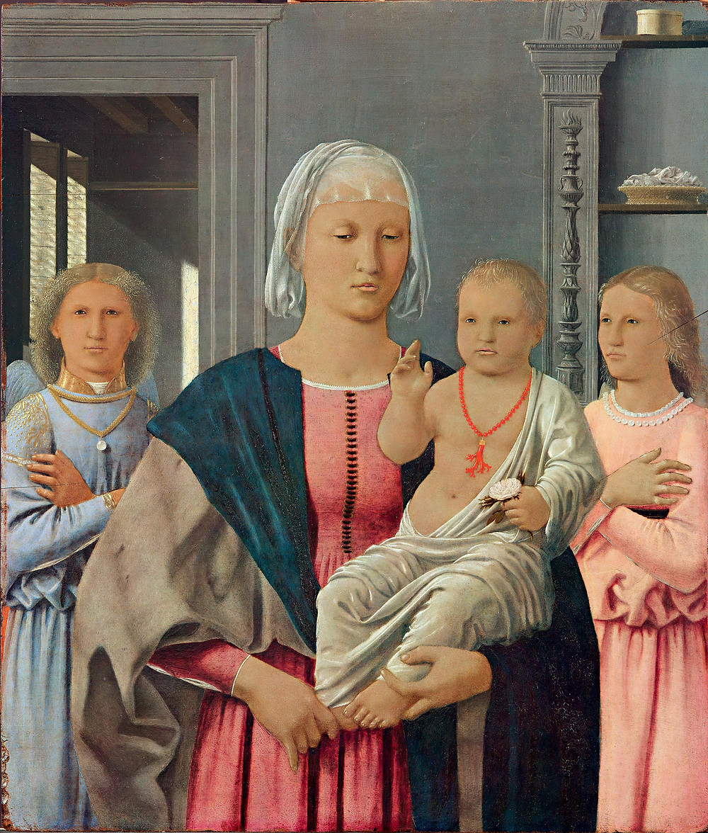 Piero della Francesca,  Madonna and Child With Two Angels, 1465