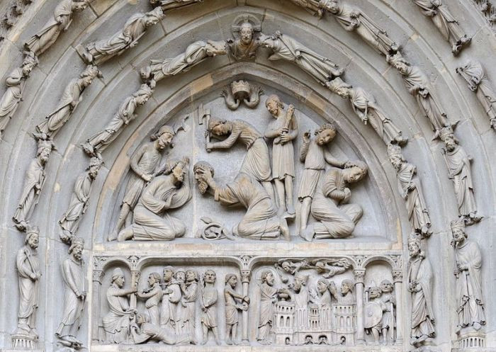 the beheading of Saint Denis on the north portal of Saint-Denis Basilica