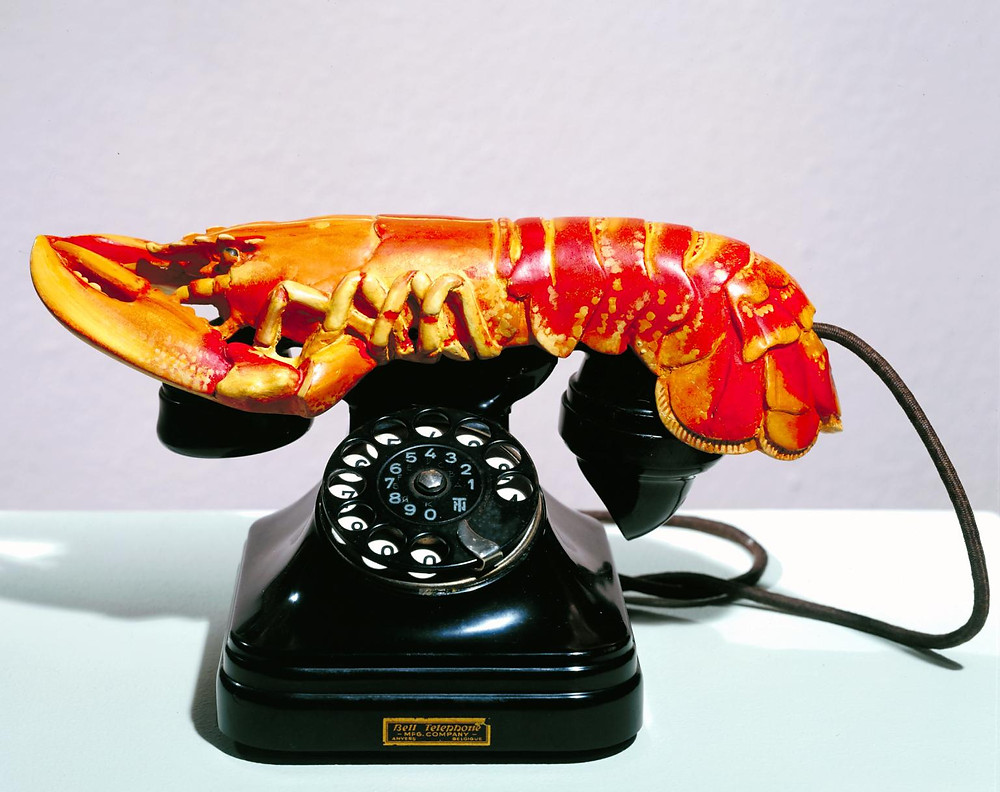 Salvador Dali, Lobster Telephonies, 1936 -- a classic Surrealist object made of 2 unrelated things. The result is something both playful and menacing. it's in the Tate Modern in London