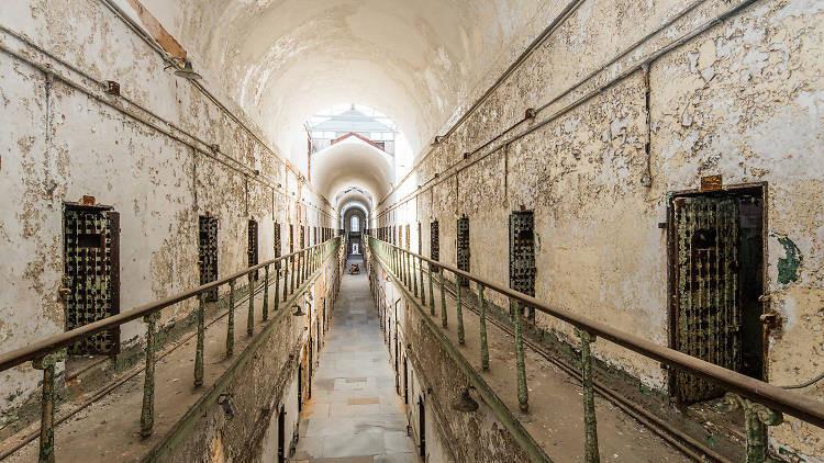 gloomy cell block in the Eastern State Penitentiary in Philadelphia