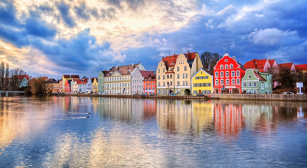 pastel houses in Landshut Germany