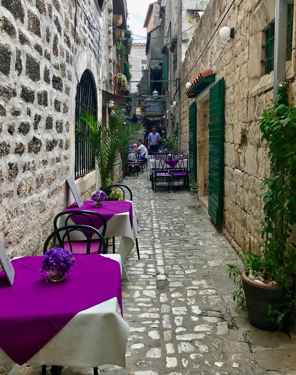 pretty street in medieval Trogir