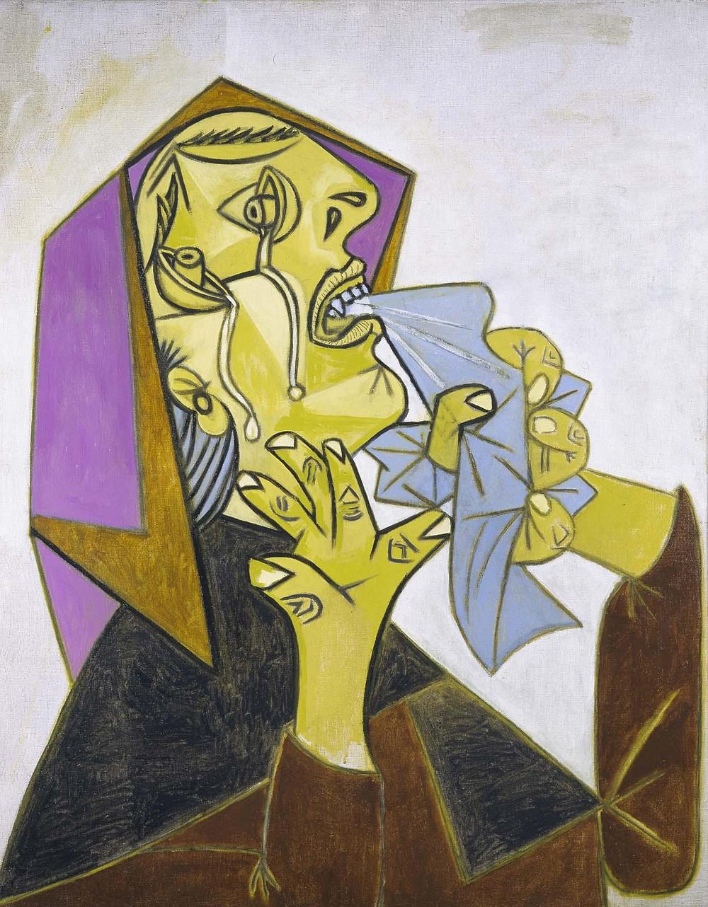 Pablo Picasso, Weeping Woman's Head with Handkerchief [III]. Postscript of Guernica, 1937