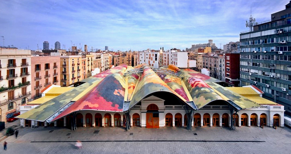 the colorful roof of Santa Caterina Market in Barcelona