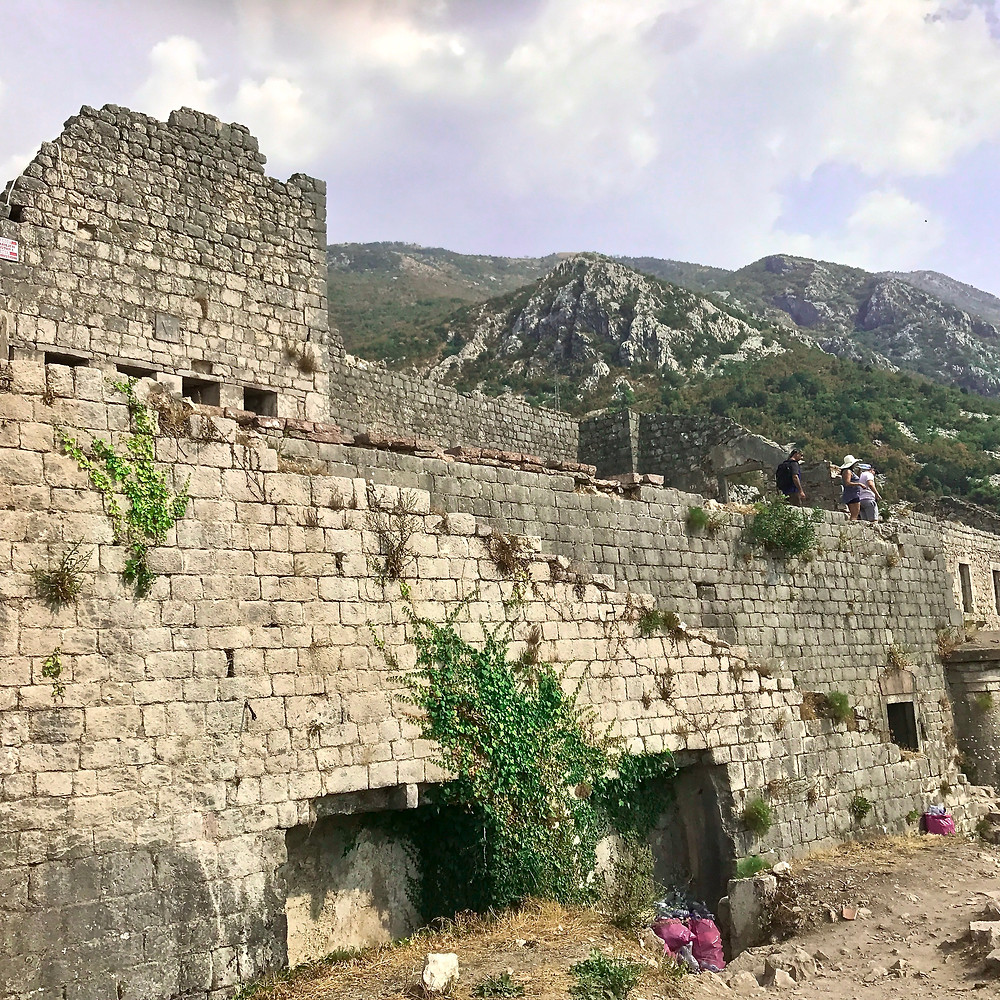 the ruined fortress castle in Kotor Montenegro