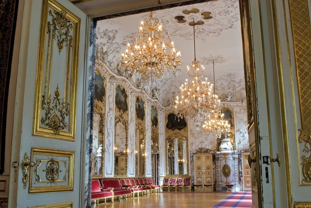 grand ballroom inside Schloss St. Emmermam