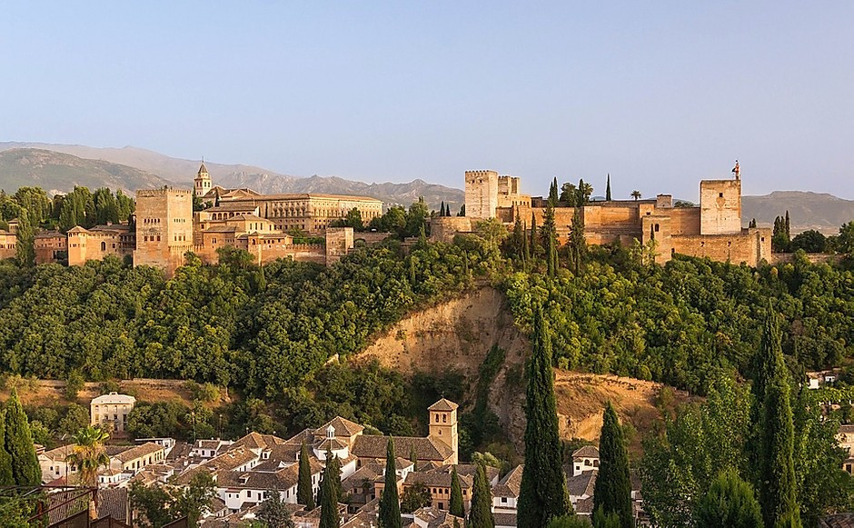 the hilltop setting of the Alhambra in Granada Spain
