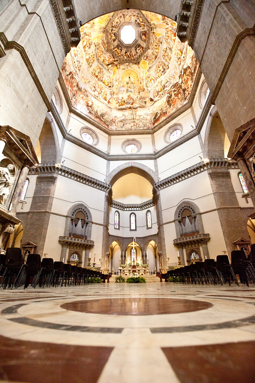 the rather spare interior of Florence Cathedral