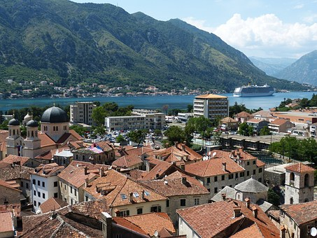 views of the terra cotta roofs of Kotor