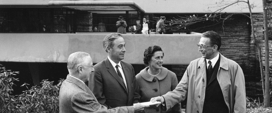 Wright (on the left) with the Kaufmans at Fallingwater