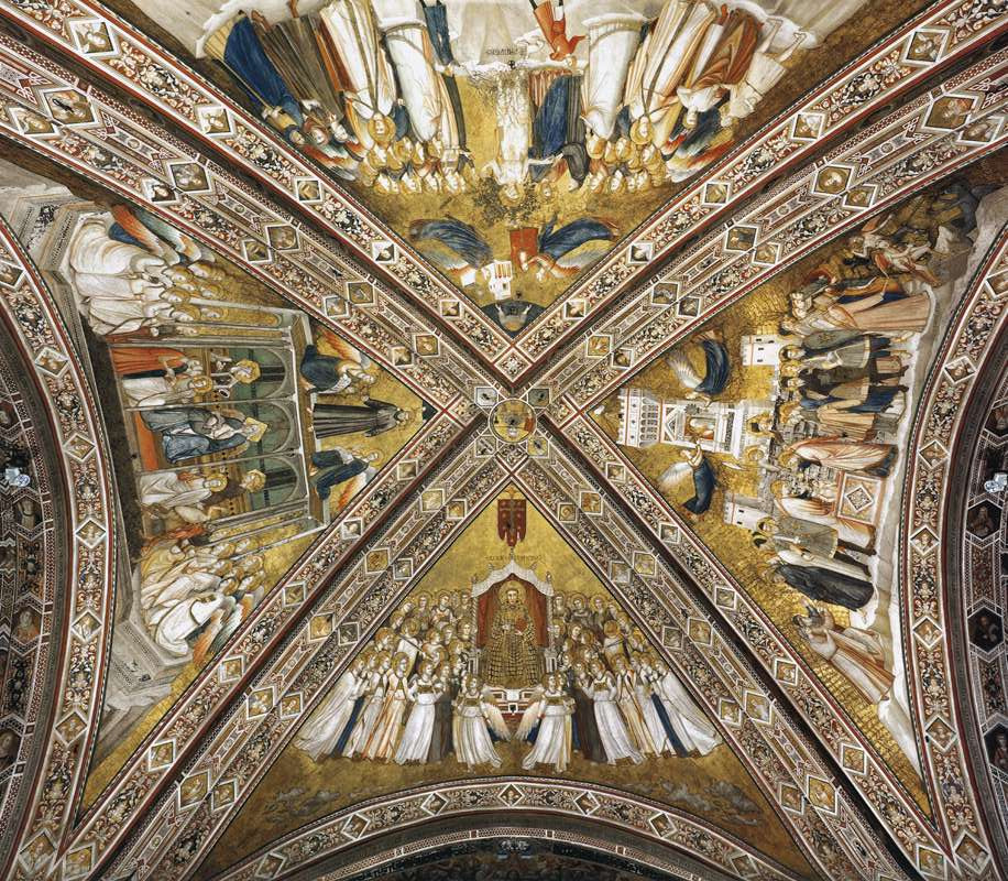 allegories in the ceiling of the lower basilica