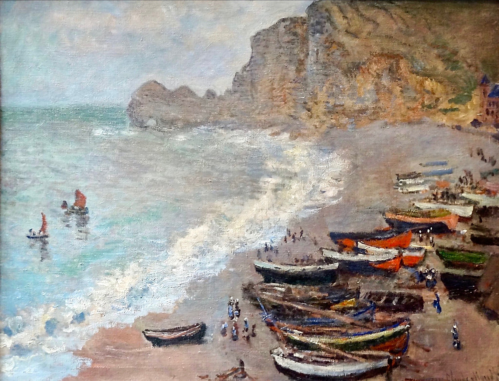 Monet, Plage Etretat, 1883 -- in the Musee d'Orsay