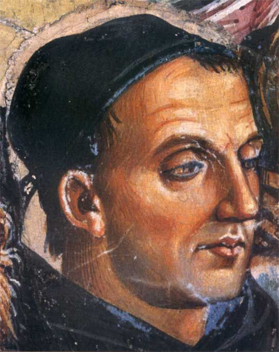 Luca Signorelli, detail from Deeds of the Antichrist 1501 -- portrait of Fra Angelico in Orvieto Cathedral