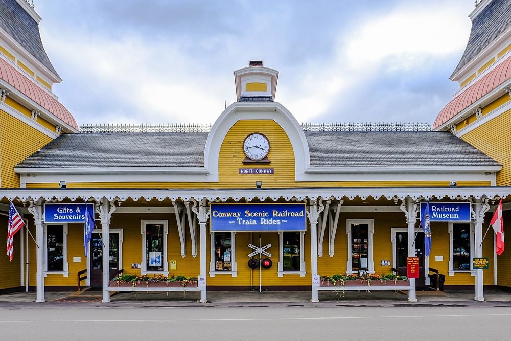 historic, timber-built railroad station in North Conway NH