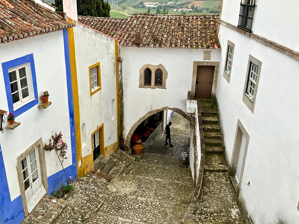 cobbled street in Óbidos Portugal