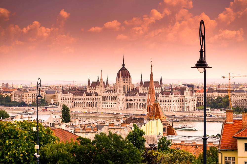 the Budapest parliament building in Pest