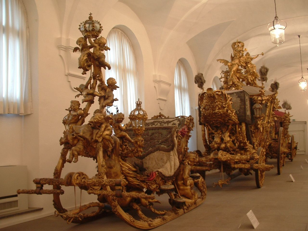 Ludwig's gilded sleighs, which he used for his nocturnal outings  in the Nymphenburg Palace museum