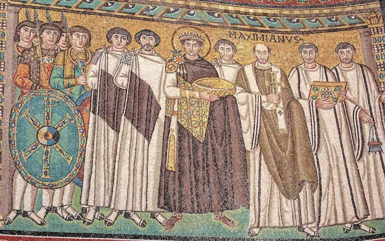 the Justinian mosaic in the Basilica of San Vitale
