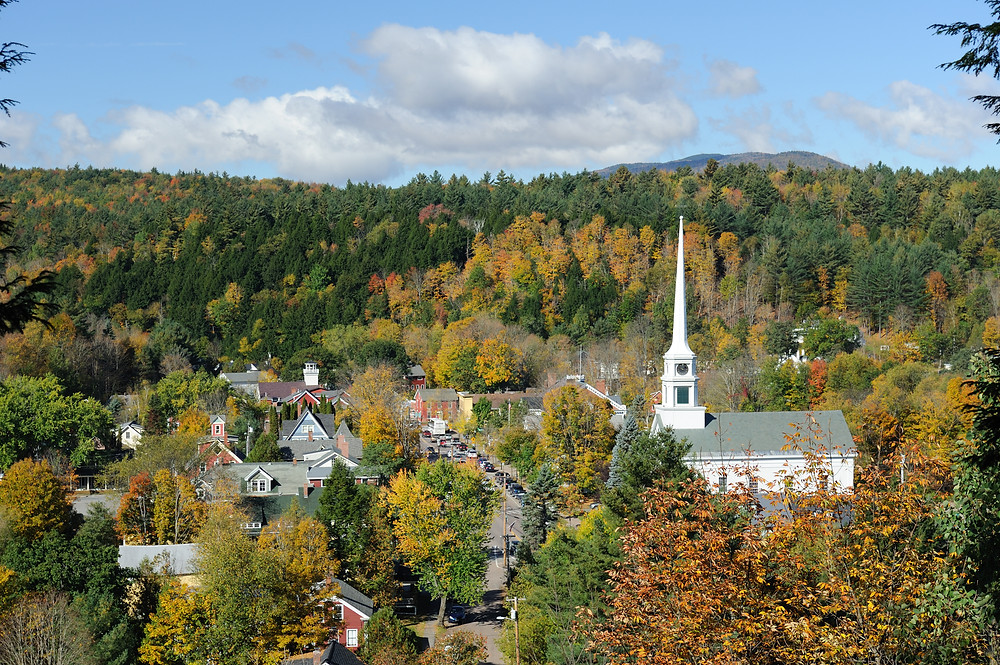 aerial view of Stowe Vermont