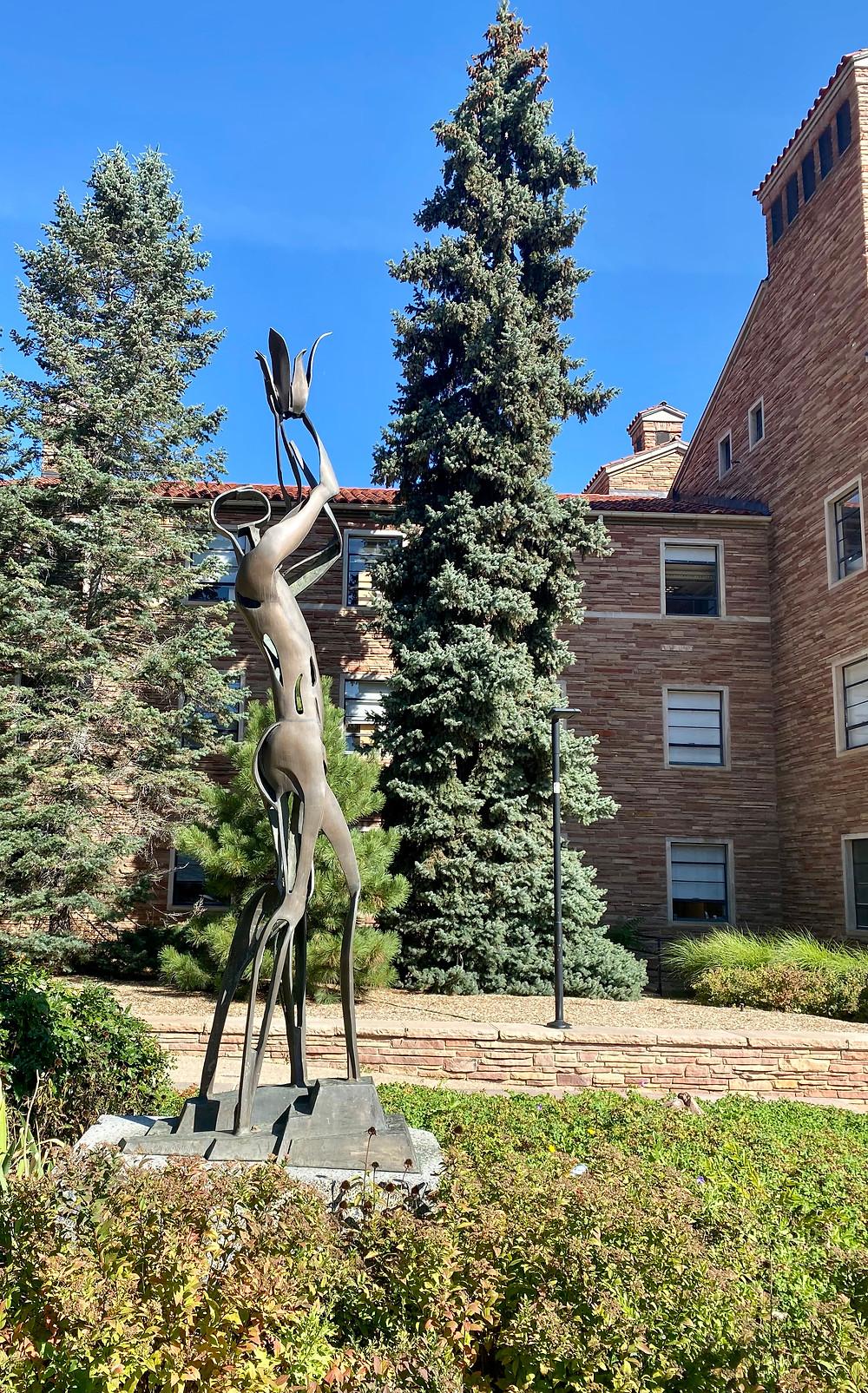 bronze sculpture of Orpheus on the UC Boulder campus