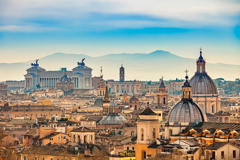view of Rome from Castle Sant'Angelo