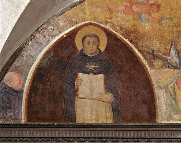 Fra Angelico's lunette fresco of St. Thomas Aquinas with his Summa Theologiae