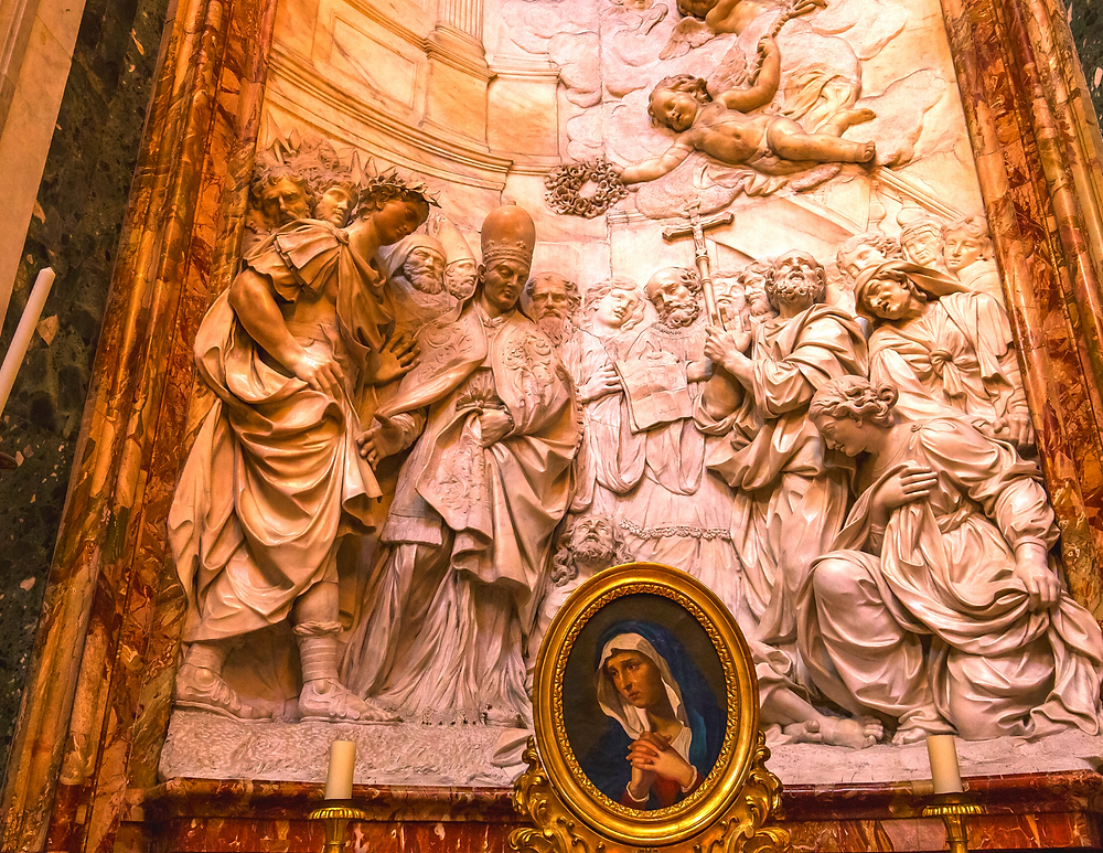 sculptures on the altar of Saint Alexius