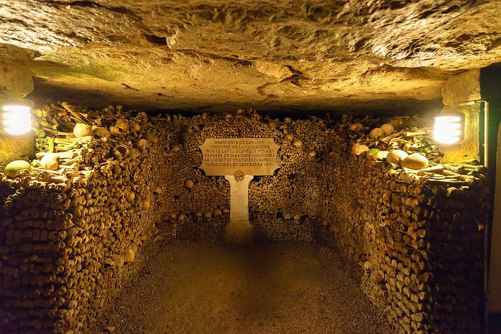 room in the Catacombs in Paris