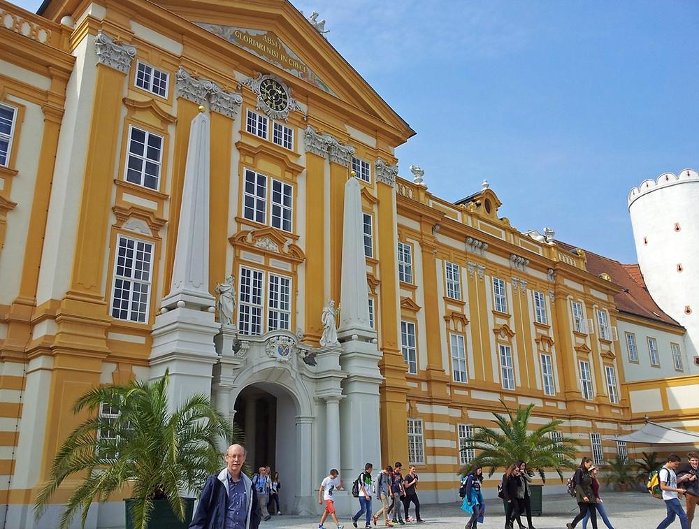 the elegant eastern facade of Melk Abbey
