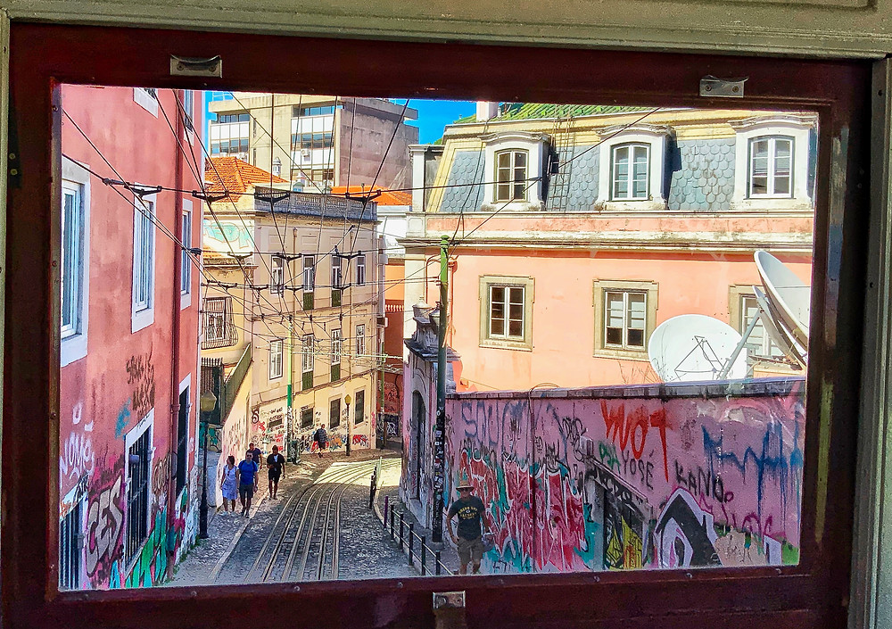 view out the back window of the Glória funicular