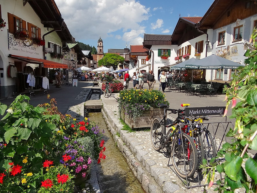 Obermarkt street in Mittenwald Germany