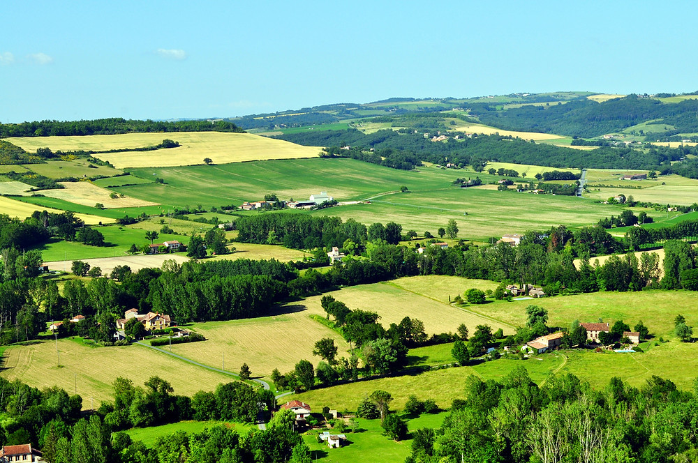 the drive through the French countryside to Cordes Sur Ciel