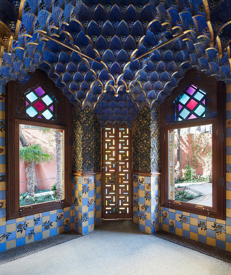 "the blue ""smoking room"" in Casa Vicens with its elaborate restored ceiling"