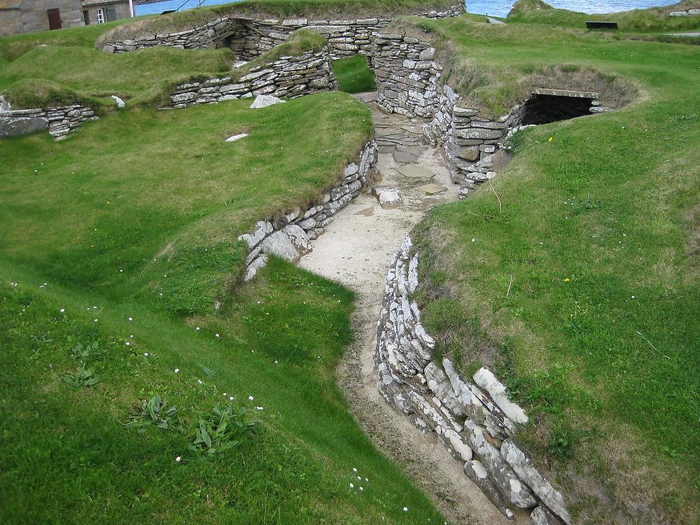passageways between the cluster of home in Skara Brae