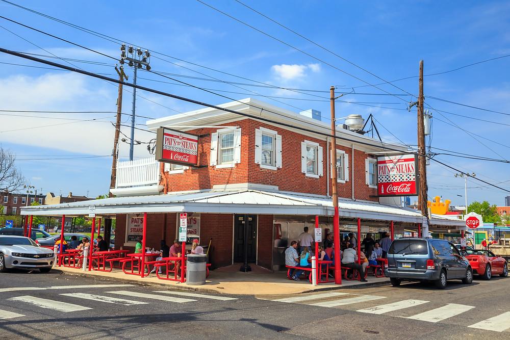 The famous cheesesteak restaurant Pat's King of Steaks
