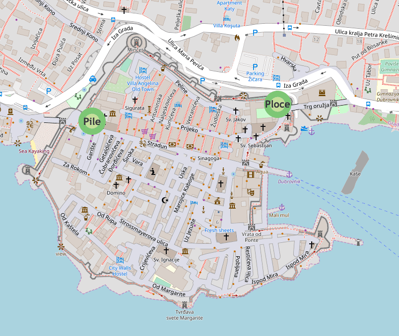 map of the Dubrovnik city walls showing the entry points
