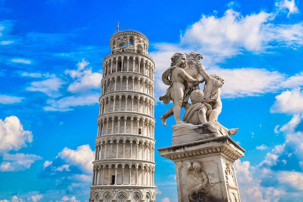 the Leaning Tower of Pisa and Statue of Angels
