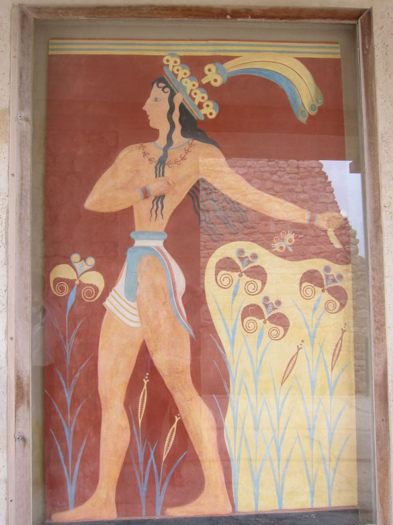 """the """"Prince of Lilies"""" fresco -- It's mostly a recreation. Minoan men didn't wear their hair that way."""