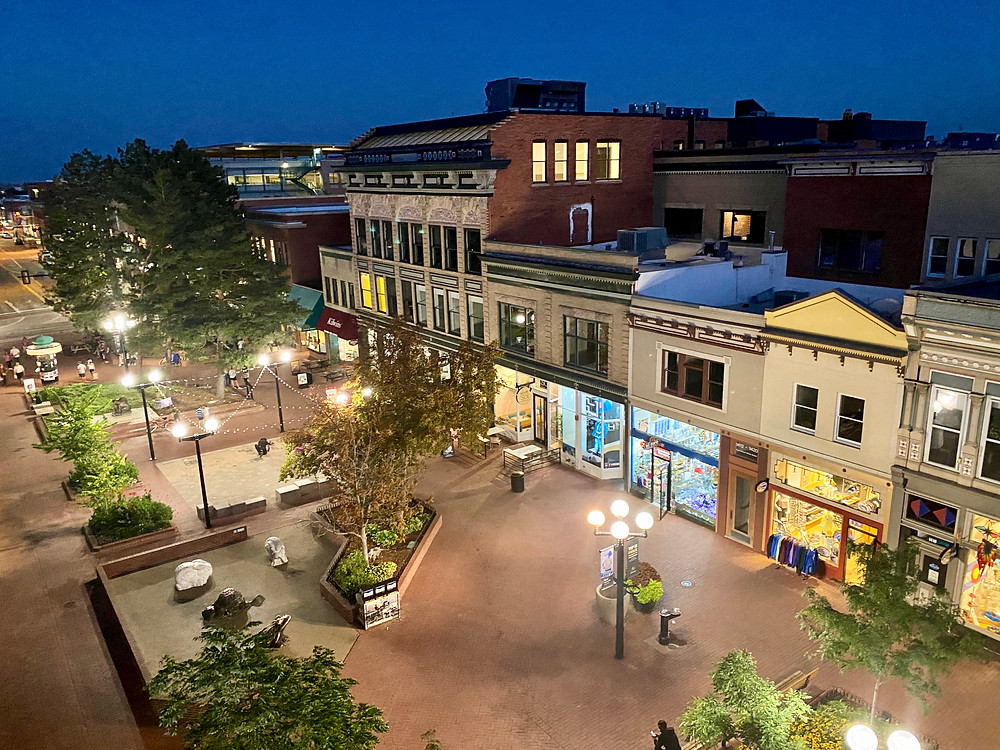 view of Pearl Street from the rooftop bar of Avanti