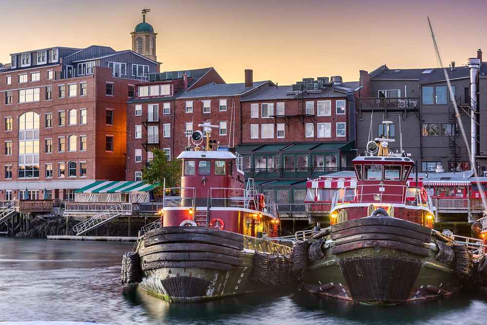 tugboats on the river in Portsmouth