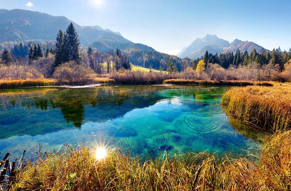 beautiful lake in the Julian Alps