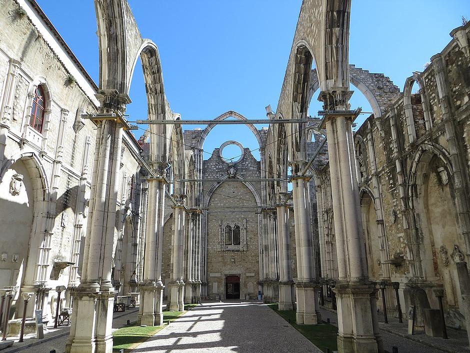 the 15th century Igreja do Carmo in Lisbon's Chiado neighborhood